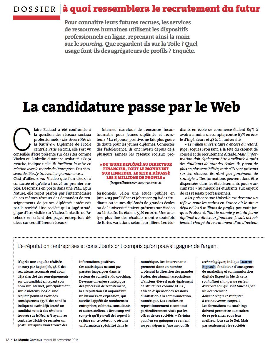 Retrouvez l'interview de Laurent Rignault, CEO et fondateur d'EXPERT is Me, dans LeMonde Campus